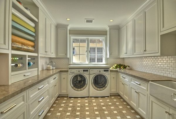 white cabinets laundry room with drawer pulls Top Laundry Room Storage Ideas