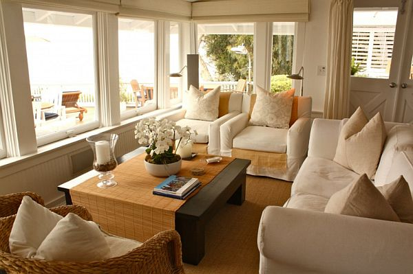 white cotton living room interior – beach house