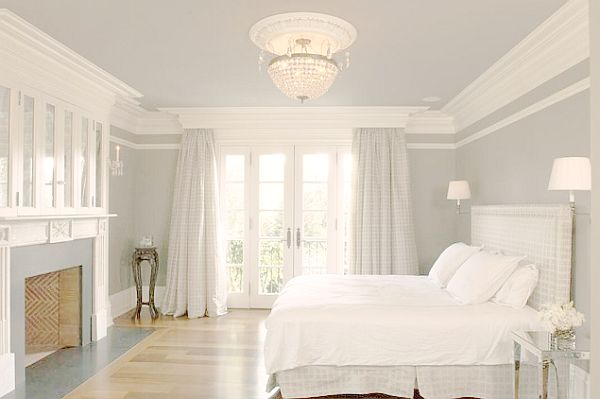 white english country house bedroom with crown molding if the crown