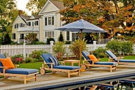 White picket fence at the pool