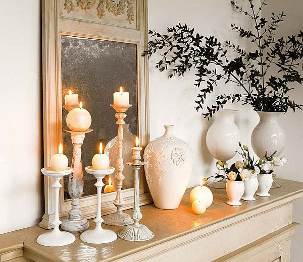 white-home-decor-with-candle-decorated-mantle