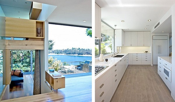 white kitchen design with lake views