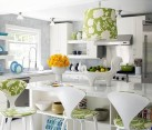 white kitchen with modern floral prints accents
