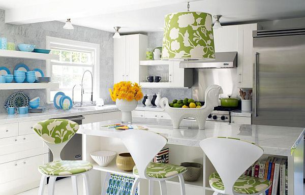 white kitchen with modern floral prints accents How to Use Floral Prints Tastefully