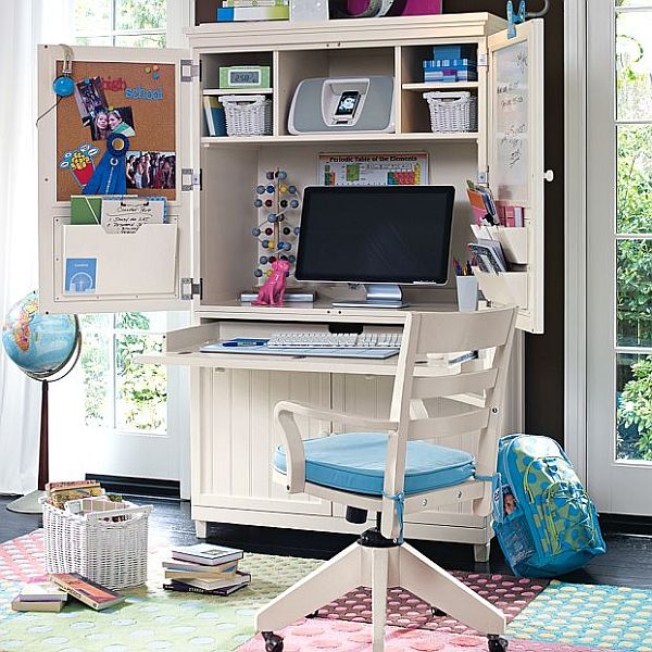 white minimalist kids study room