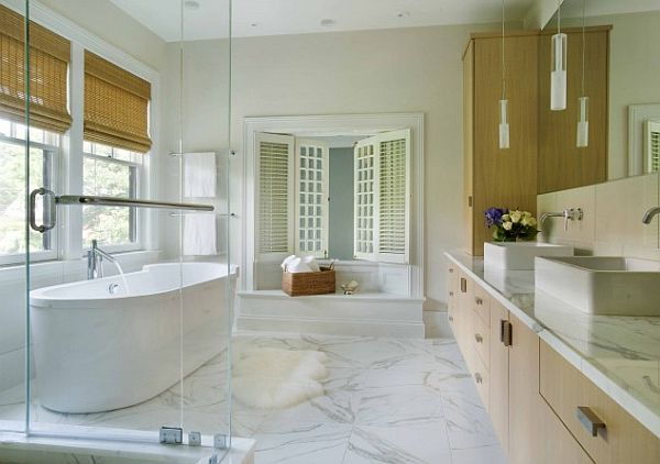 white modern bathroom with marble flooring How to Clean Marble Flooring