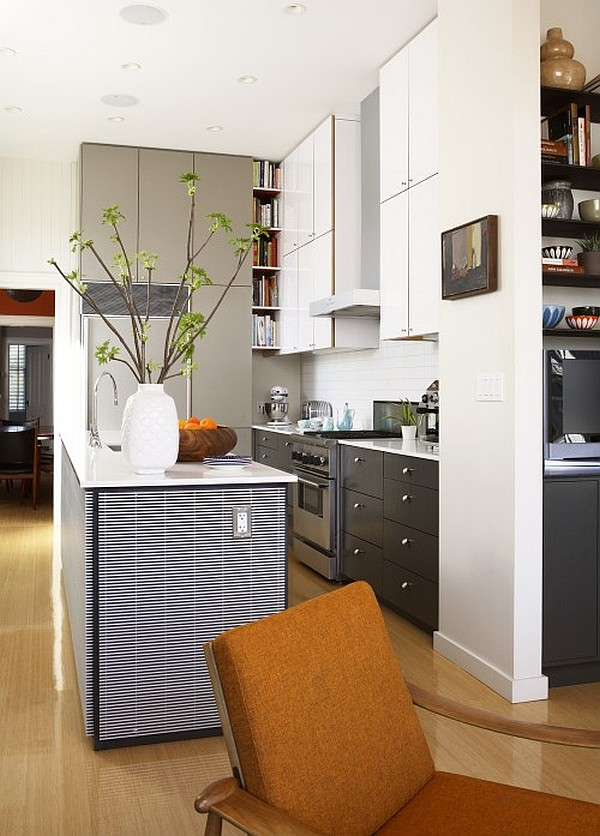 white modern kitchen with islands and cabinets