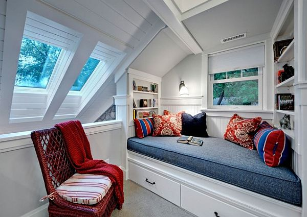 white modern reading nook with  small space under bed storage