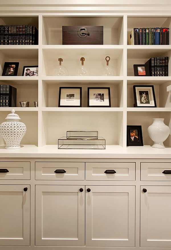 white traditional living room with box shelves furniture