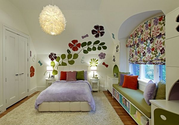 white whimsical kids bedroom with floral wallpaper and custom ceiling lighting fixture