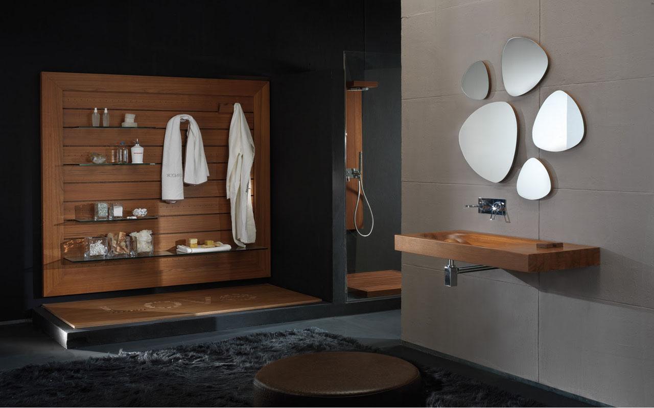 wooden bathroom with black decor