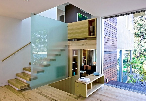 wooden interior with fancy wooden staircase design