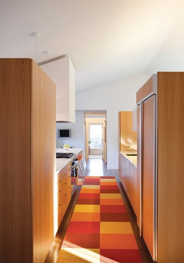 wooden kitchen decor with colorful checkered rug