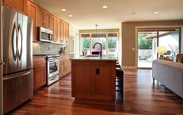 Wooden Kitchen Furniture With Hardwood Floors Decoist