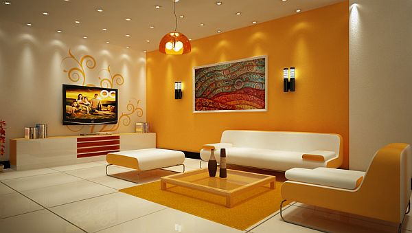 yellow and white artistic living space