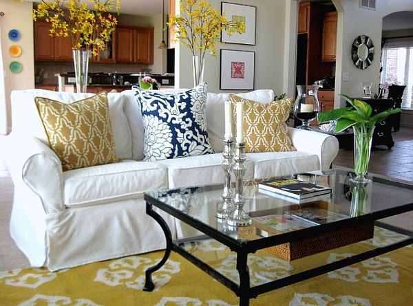 yellow and white slip covered sofa decoist