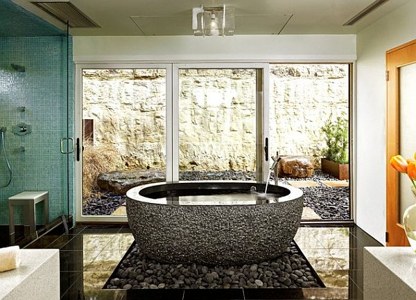 View in gallery Asian inspired bathroom with zen ...