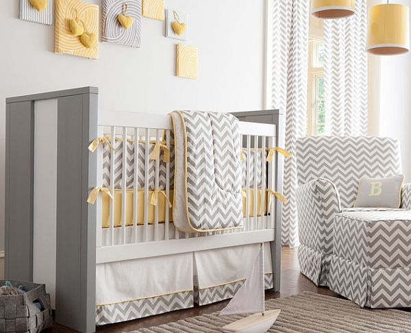 White and grey baby nursery with chevron stripes decor