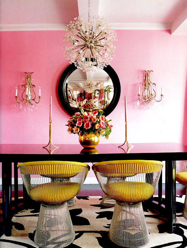 Betsey Johnson pink and gold dining room