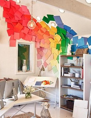 Bright home office design with colorful wall art