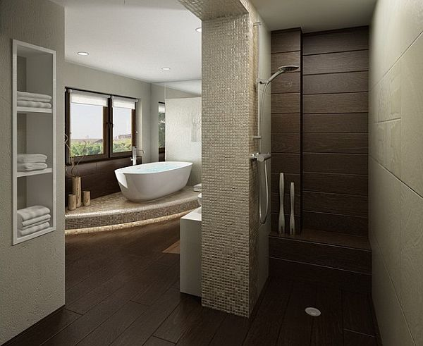 Brown tiles bathroom with door less shower Doorless Showers: How to Pull Off the Look