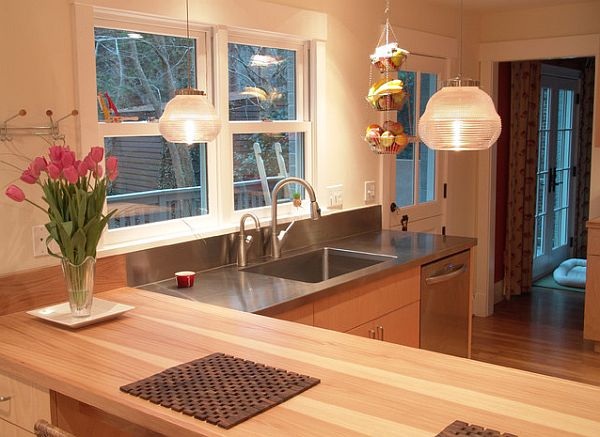 Butcher block peninsula with stainless counters