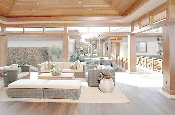 Comfortable sofas in outdoor entertainment pavilion
