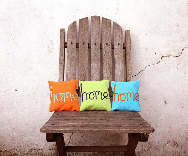 DIY colorful typography pillows