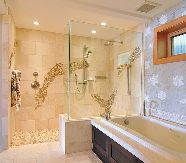 view in gallery doorless shower in modern bathroom