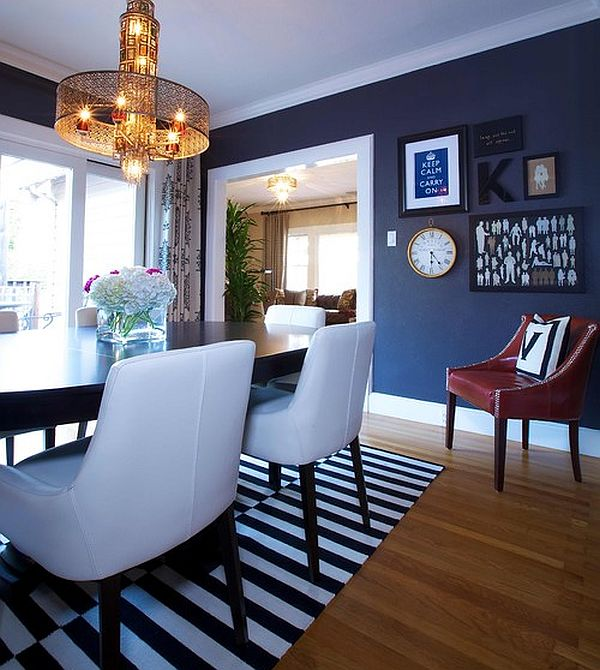 eclectic dining room in navy blue decoist