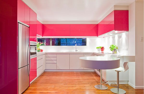 Glossy pink and white  kitchen cabinets