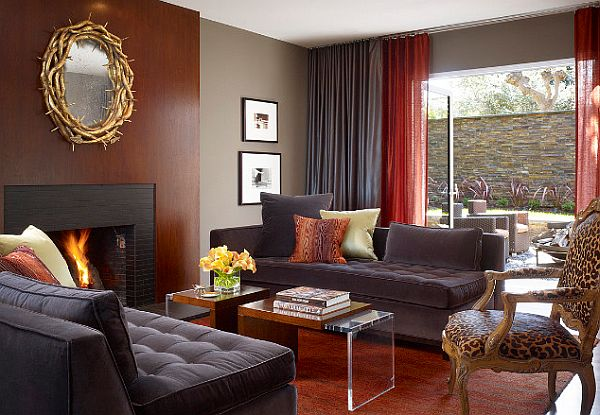 3 tricks to make your home cozier - Black red and grey living room ...