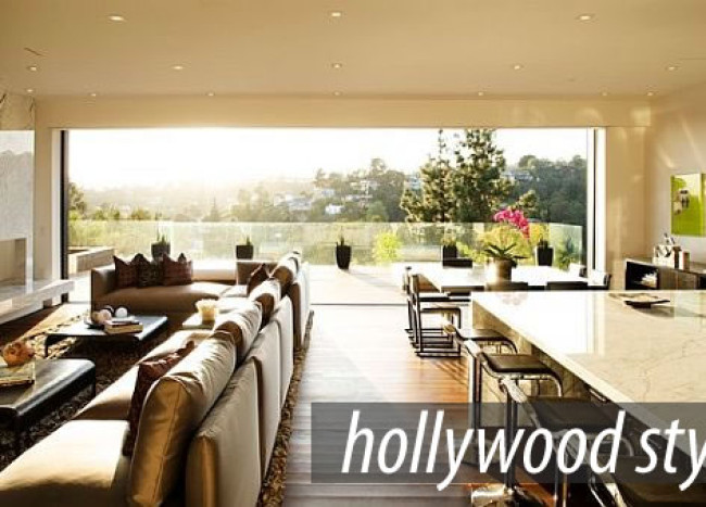 Stunning living room with Hollywood flair