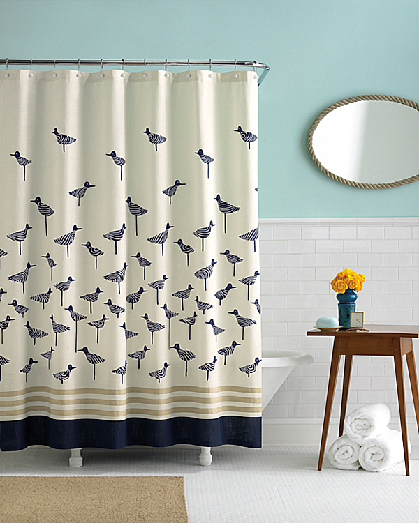we continue our modern summer motifs with the sandpiper shower curtain