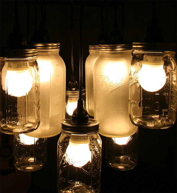 Mason Jar Chandelier 10 Fun Ways to Enlighten Your Life: Upcycling Household Products to Quirky Light Fixtures
