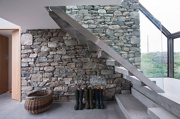 Modern Stone Hut – stone walls and staircase