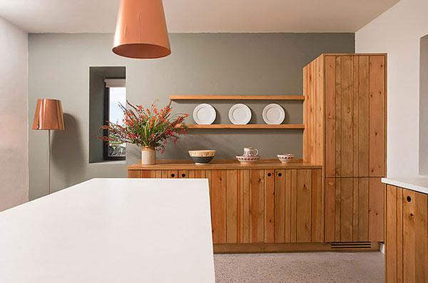 Modern Stone Hut – white kitchen island