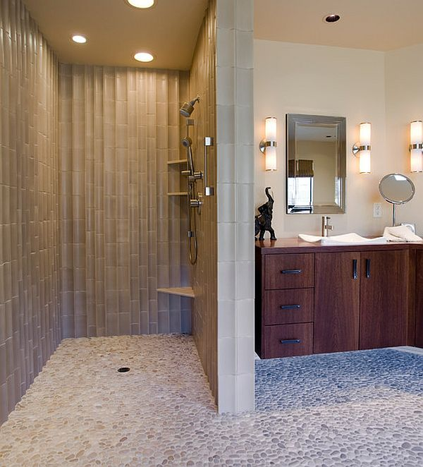 View In Gallery Modern Bathroom With Doorless Shower