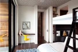Modern guest room design with fancy bunk beds