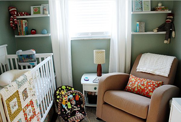 Modern nursery room with shelves on sides Nurturing Nursery Room Designs: Top Eight Things for Your Baby