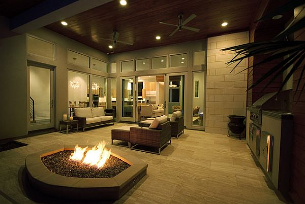 Modern outdoor space decor with fire pit