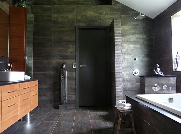 oriental bathroom with doorless shower design - Bathrooms Showers Designs