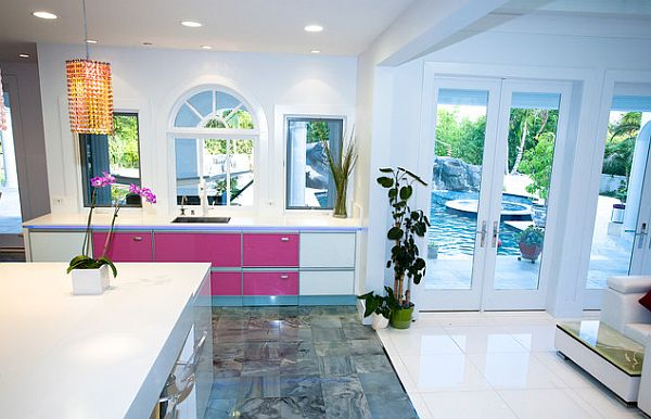 Pink and white kitchen furniture