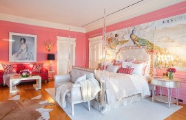 Pink walls bedroom design