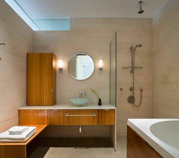 Simple bathroom design with doorless shower decoist for Simple small bathroom design ideas
