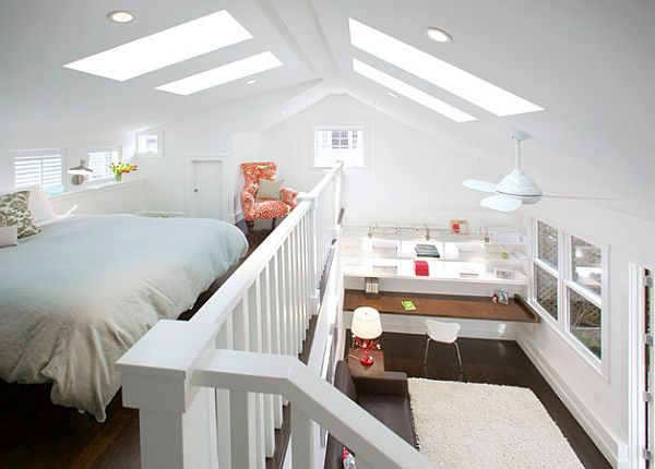 white decorated guest room in a modern loft - Modern Guest Room Ideas