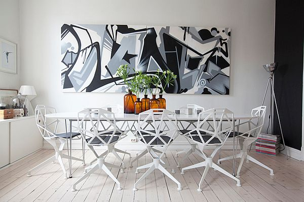 office graffiti wall. view in gallery white dining room with big graffiti wall art office