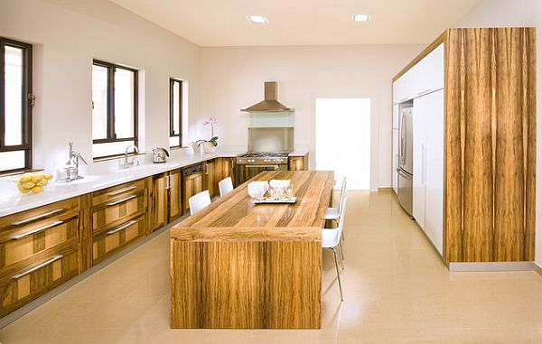 Wooden kitchen furniture with island doubling up as kitchen table How to Get the Perfect Eat In Kitchen