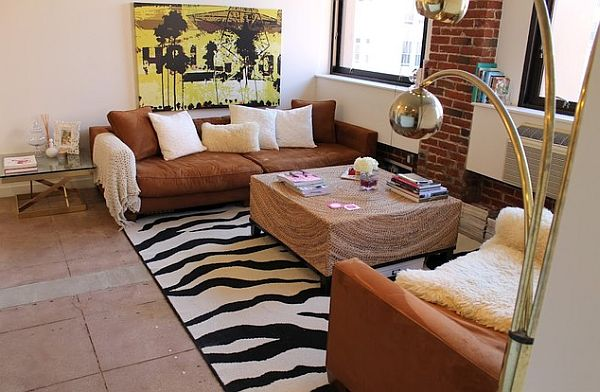 Living Room Zebra Rug decorating with stripes for a stylish room