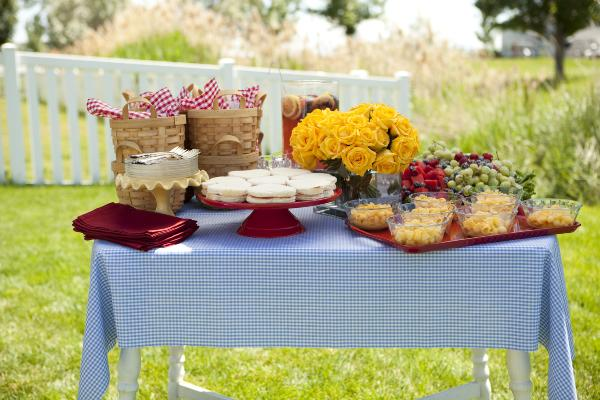 a picnic table party spread